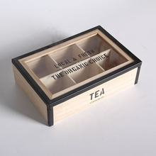 Natural  dividers wood compartment tea storage box wooden with lid