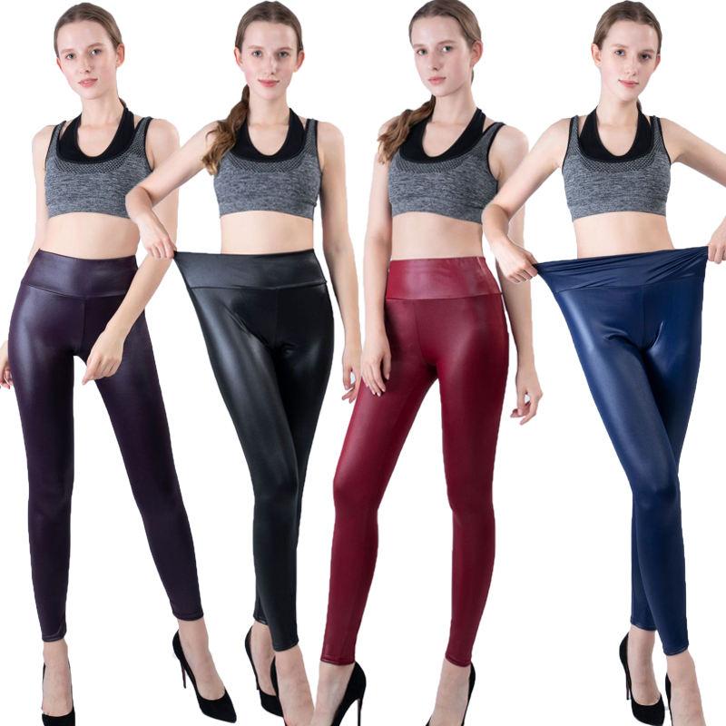 Faux Leather Women Leggings Sexy Black Faux Leather Leggings Shiny Pants Stretchy Plus Size Trousers