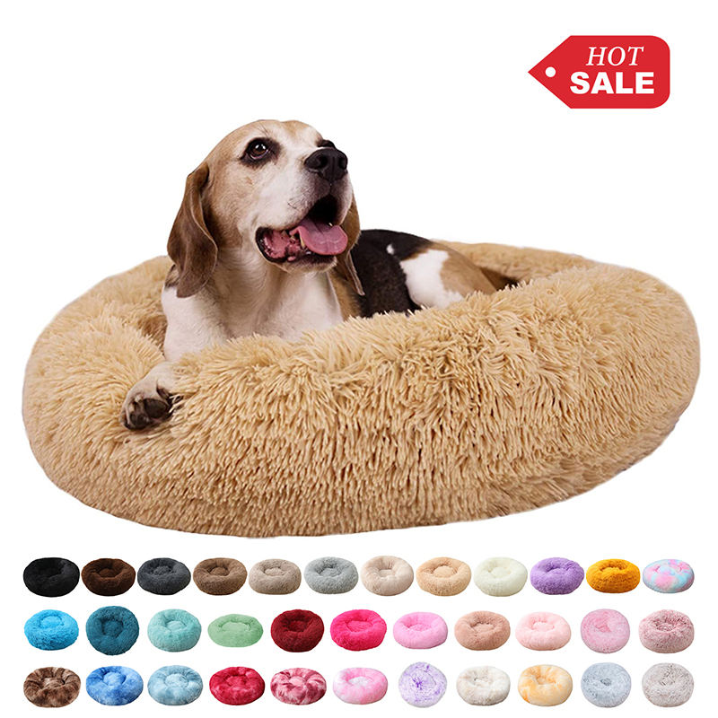 AI DI Free sample Cama de perro 40CM120CM Custom Fur Canvas Warm Round Donut Cuddler Luxury Animal Cat Cushion Pet Beds for Dog
