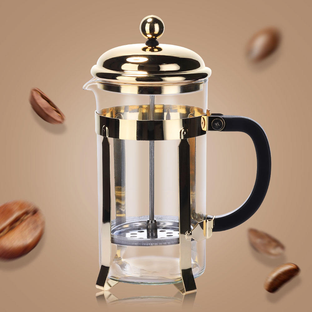 Hot sale Copper Promotion Coffeeware Pyrex Glass French Press Coffee Pot