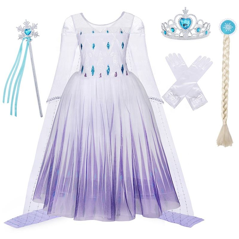 Elsa Costume 2 Girls Dress Princess Dress with Accessories Snow Queen Dress Birthday Fancy Party Cosplay Long Sleeve Outfit