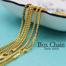 Inspire stainless steel jewelry 18 Inch Box Chain Necklace, 45cm Box Chain, 2mm Cube Chain, Silver, Gold Antique Silver