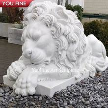 Hand Carved Western Style Natural Stone White Marble Sleeping Lion Statue for Outdoor Garden Decoration