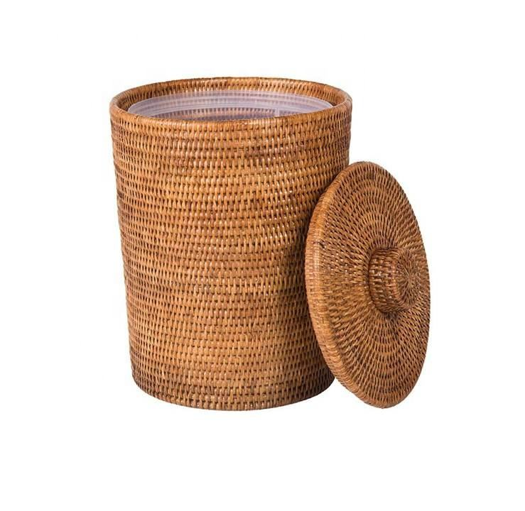 Modern Design Rattan Round Waste Basket with Plastic Insert & Lid From Vietnam