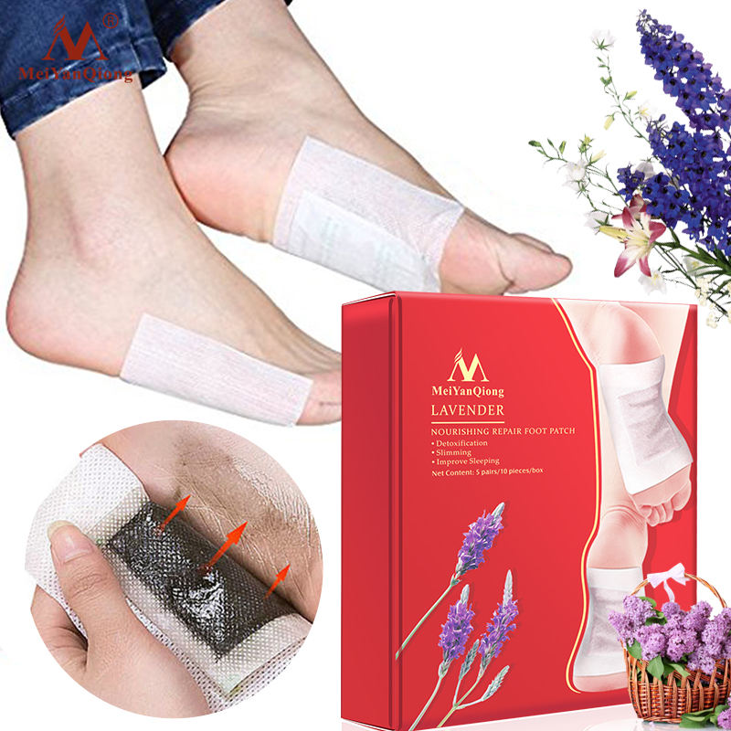 meiyanqiong 1 Box Lavender Detox Foot Patches Nourishing Repair Foot Patch Improve Sleep Quality Slimming Patch Loss Weight Care