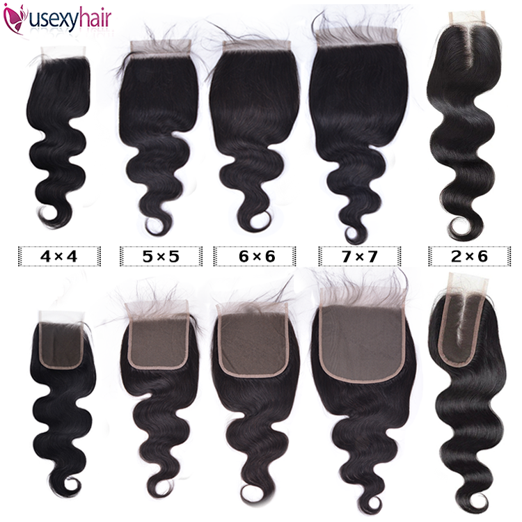 Usexy Virgin Human Hair Extensions Mink Brazilian Remy Hair Body Wave 4*4 5*5 6*6 7*7 2*6 Swiss Lace Closure