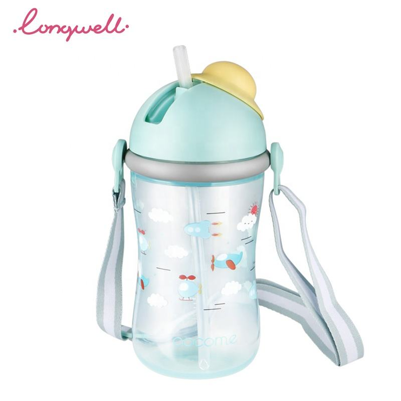 Ningbo Longwell BPA Free PP Water Bottles Flip-Lid Cover Strap Handled Infant Feeding Water Sippy Cups Kids Baby Training Cup
