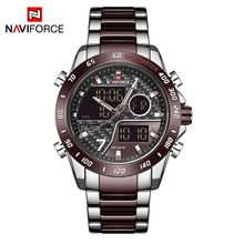NAVIFORCE NF9171 Trendy Cool Black Stainless Steel Watches For Men Japan Quartz Digital Two Time Wrist Watch