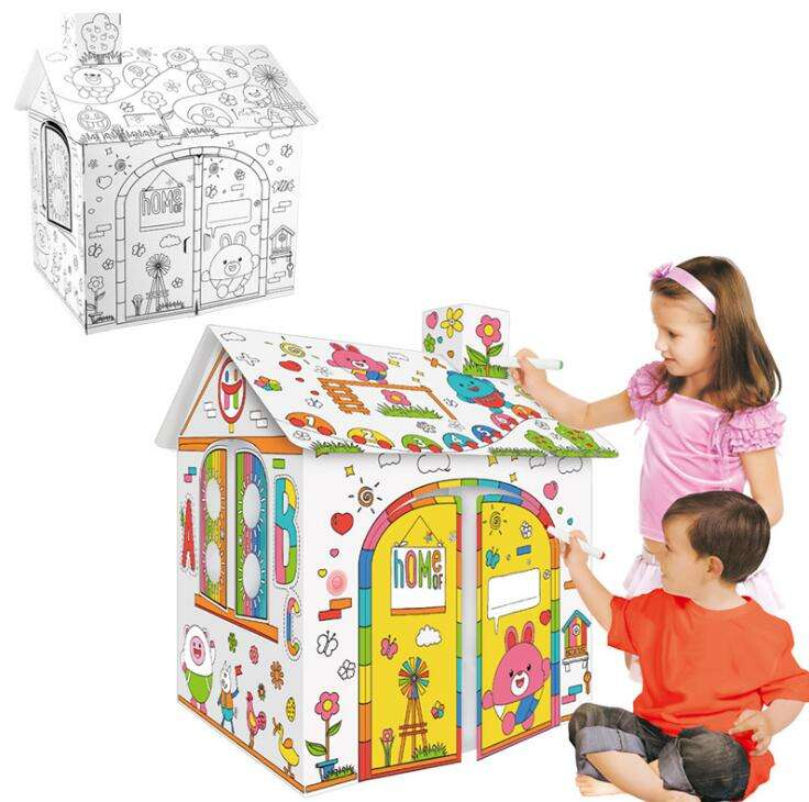 Oempromo High Quality DIY Big Paper House Kids Educational Toys