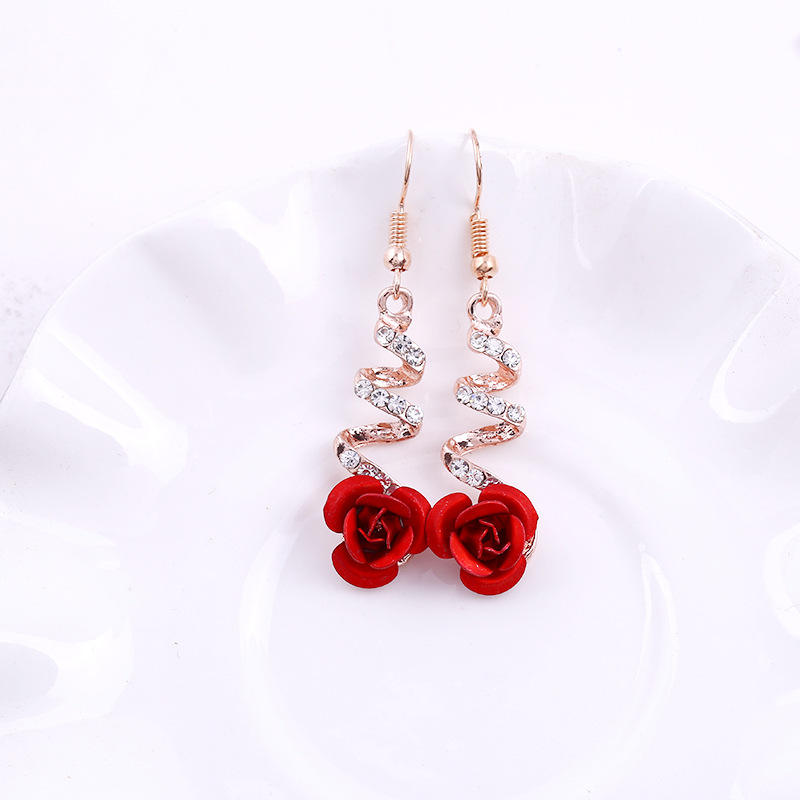 Diamond red rose drop earring ear nail studs oorbellen