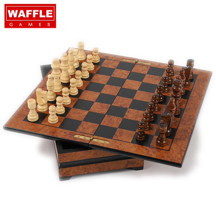 WAFFLE GAMES Deluxe Wooden Chess Set With Hand Crafted Chess Pieces