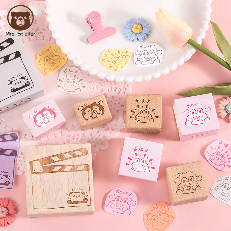 Cute Cartoon Animals Wooden Rubber Stamps DIY Handmade Decorative Rubber Seal Kids Craft School Office Supplies Stampers