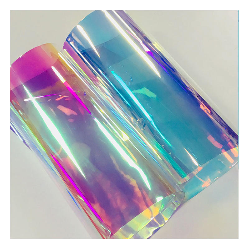 Hot sell shiny PVC holographic transparent iridescent film for bags and shoes