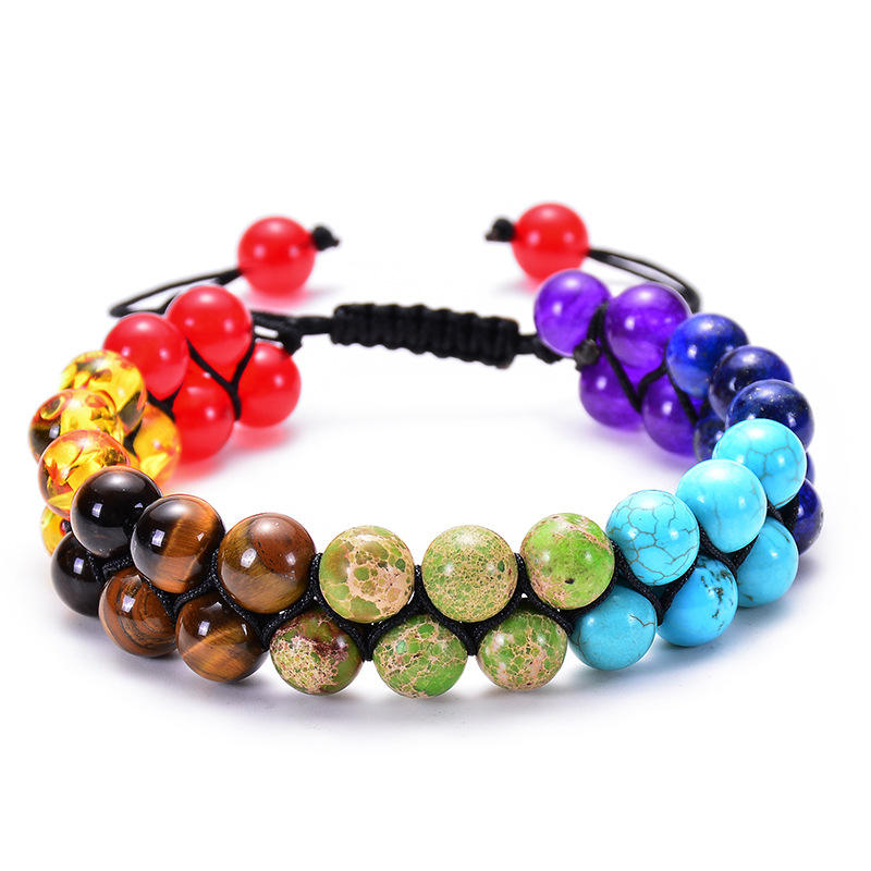 New Fashion Classic Natural Stone Bracelet Men Charm Yoga Black Lava&Turquoises Double Layer Woven Bracelets