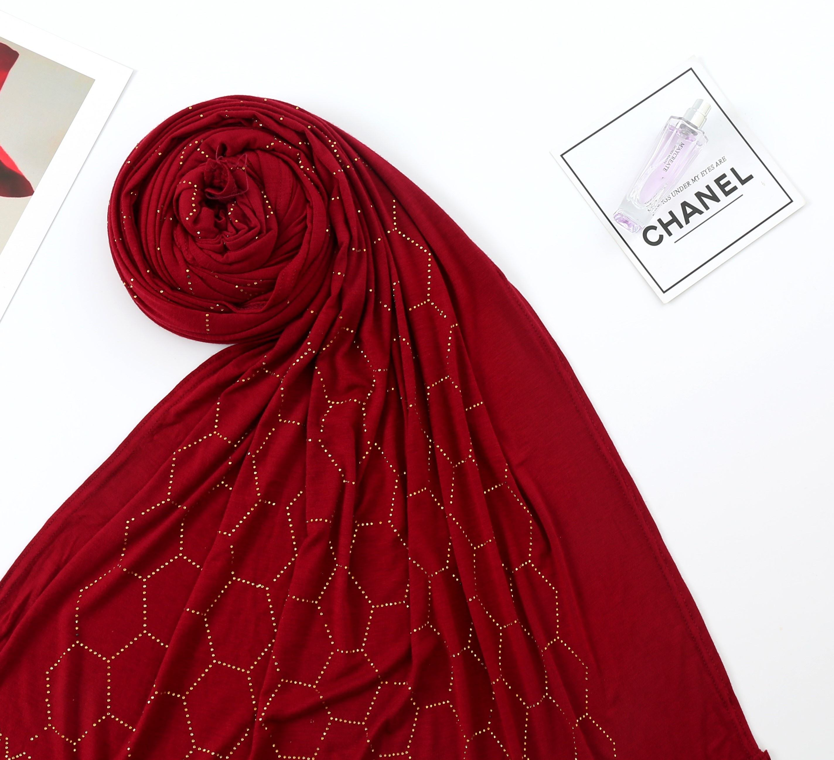 TOP SALE Dubai Wholesale Muslim Stretch Jersey Instant Hijabs Scarf With Stones fashion Hijab
