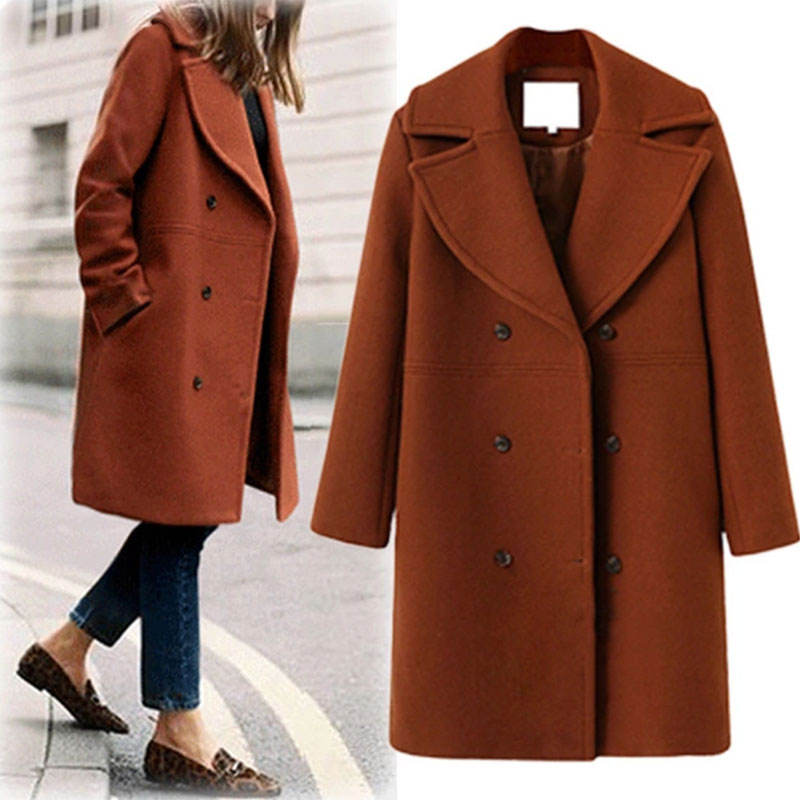 Autumn Winter Women Single Breasted Turn-down Collar Wool Plus Size Trench Coats