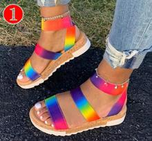 2020 New Slip-On Open Toe Thread Color Flats Women Sandals low heel Rainbow Colors Flat Outdoor Platform Shoes women's sandals