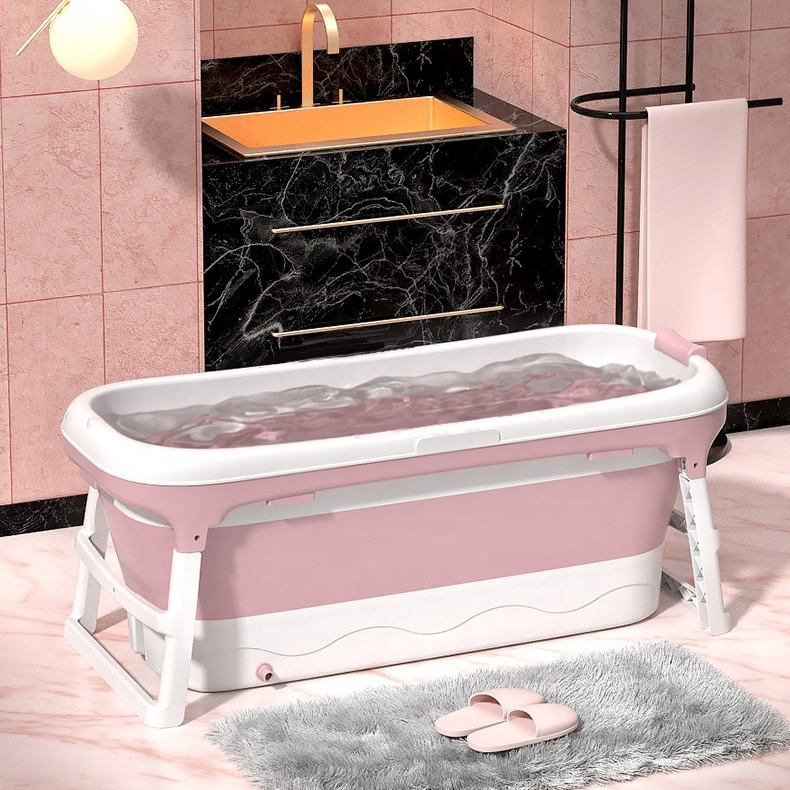 Newest Adult Folding Bathtub 128CM Movable Large Plastic Claw Foot Free Standing Spa Barrel With Cover
