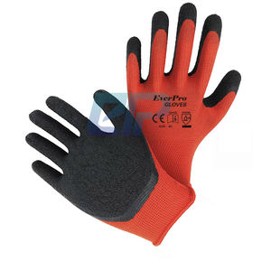13G Red Polyester Liner Crinkle Dip Latex Work Gloves For Construction