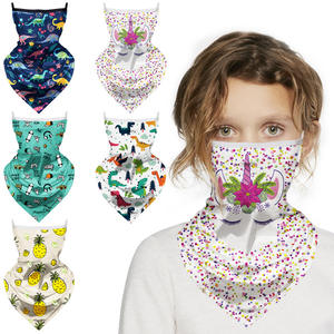 Custom Children Unique Unicorn Face Covering Scarf with ear loop Cycling Sports Kids Neck Gaiter Tube Bandana with Filter