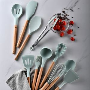 11 PCS Silicone Cooking Utensils Kitchen Utensil Set Tools with Wood Handles Turner Tongs Spatula Spoon BPA Free Non Toxic