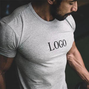 Custom Breathable Fitness T Shirt Printing 100% Heavy Cotton Plain Round Neck T Shirt Men White Short Sleeves Slim Fit Gym Tops