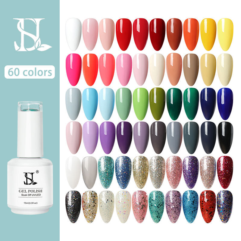 Free Sample Private Label 15ml Soak Off Uv Gel Nail Polish Long Lasting 60 Colors HS Gel Polish