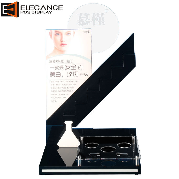 Aangepaste Acryl Cosmetische Display Make-Up Display Stand Met Zeefdruk Logo