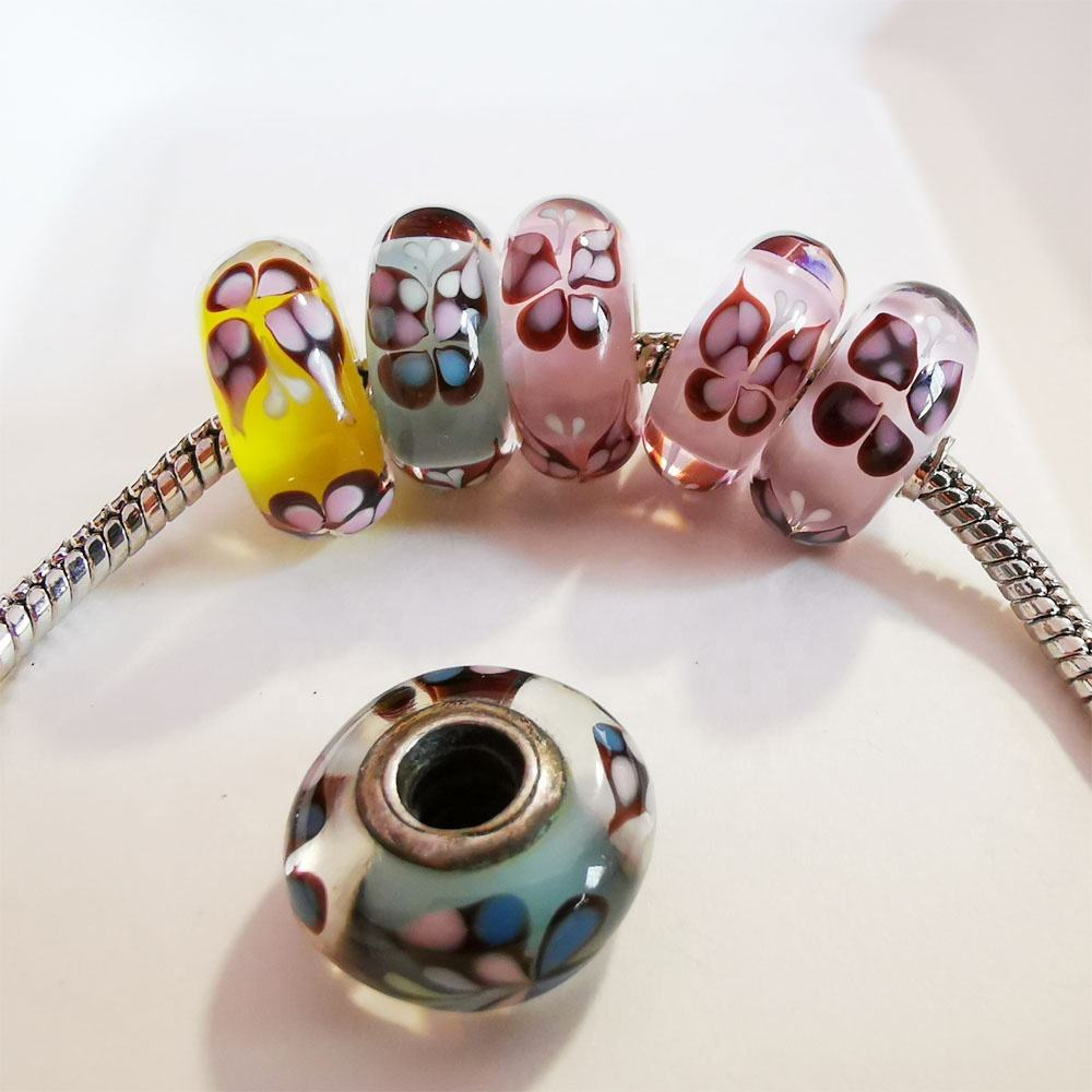 Square Cube Shaped Lampwork Bead Large Hole European Charm Bead Silver Cored Transparent Blue