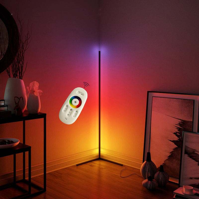 LED indoor modern RGB wall corner floor lamp APP with remote music control night light for home bedroom decoration
