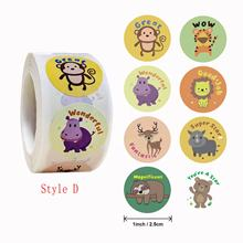 Wholesale  8 kinds animals pattern 1 inch 25 mm roll round adhesive kids toy reward stickers