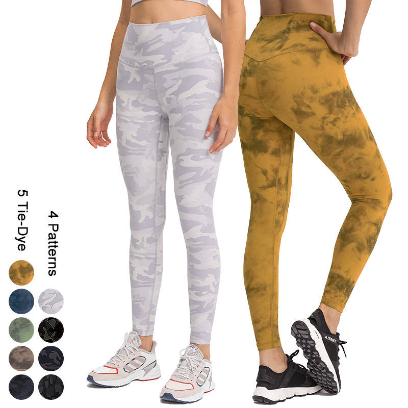 Ready To Ship RTS 1 Pcs Wholesale Custom High Quality Women High Waisted Print & Tie Dye Yoga Pants Leggings With Camo Leopard