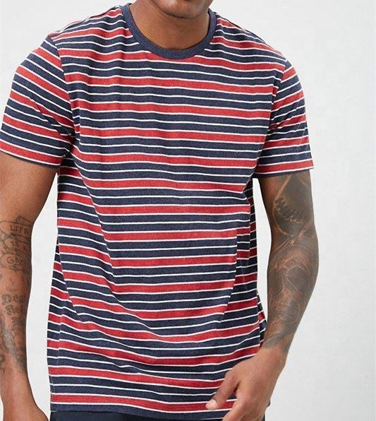New Casual Fashion T-shirts Short Sleeve Stripe T Shirts Custom Men T Shirt
