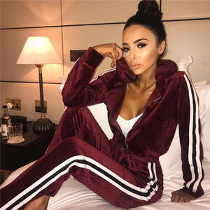 New Arrival 2020 Velvet Two Piece Set Womens Clothing And Long Pants Sweat Suits With Hoodie