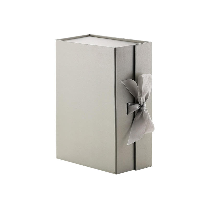 Luxury pewter clothes packaging magnets folding gift box with ribbon