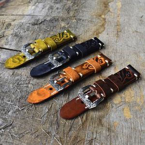Vintage luxury fashion handmade genuine leather watch strap custom designer leather watch strap with engraved steel buckle