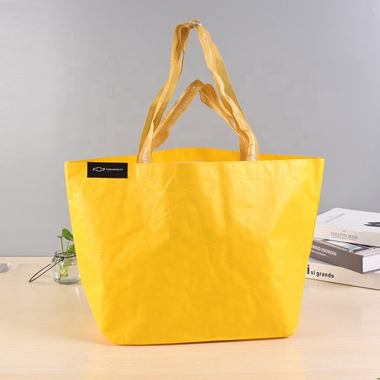 Custom logo yellow recyclable plastic handmade pp woven polypropylene laminated durable grocery shopping tote bag