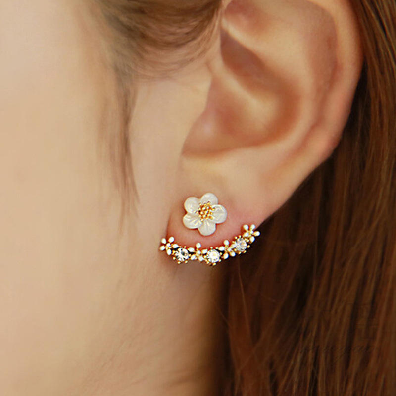 Crystal Flower Drop Earrings For Women fashion Jewelry Double Sided For Party Best Friend Gold Silver Earrings