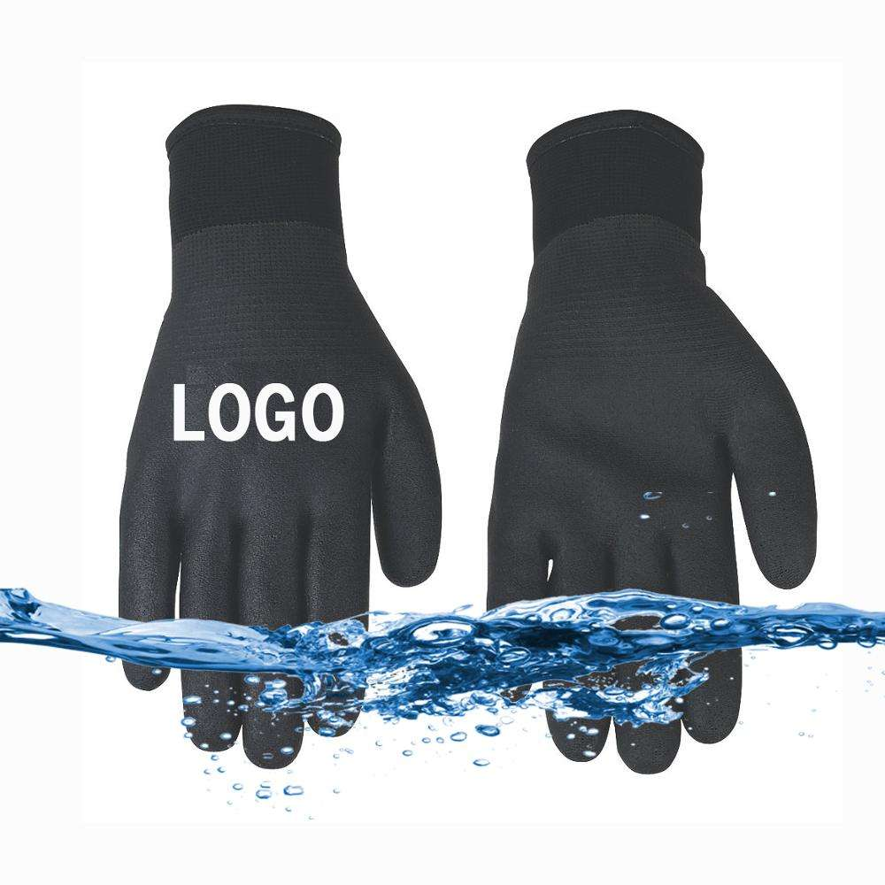 100% Waterproof Black Nitrile Gloves Work Safety Double rubber coated Fully latex dip Winter Fleece lined Outdoor Custom logo