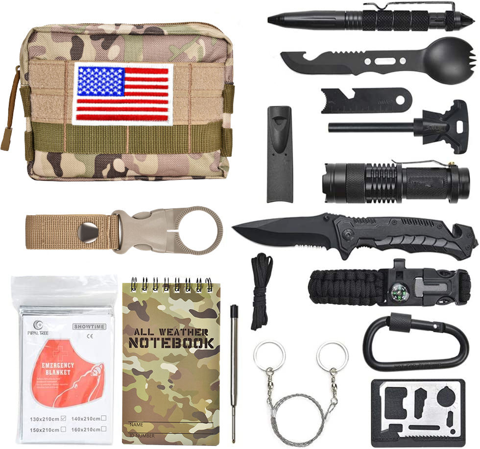 PreppersSurvival Gear Emergency Gear 18 in 1 Outdoor Camping Sos Edc Supplies Preppers Survival