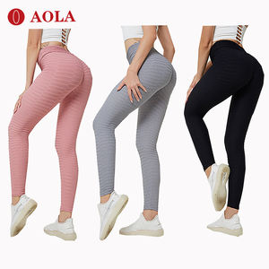 AOLA Designed Letter Printing High Waist Mesh Band Black Custom Logo Women Leggings Free Sample