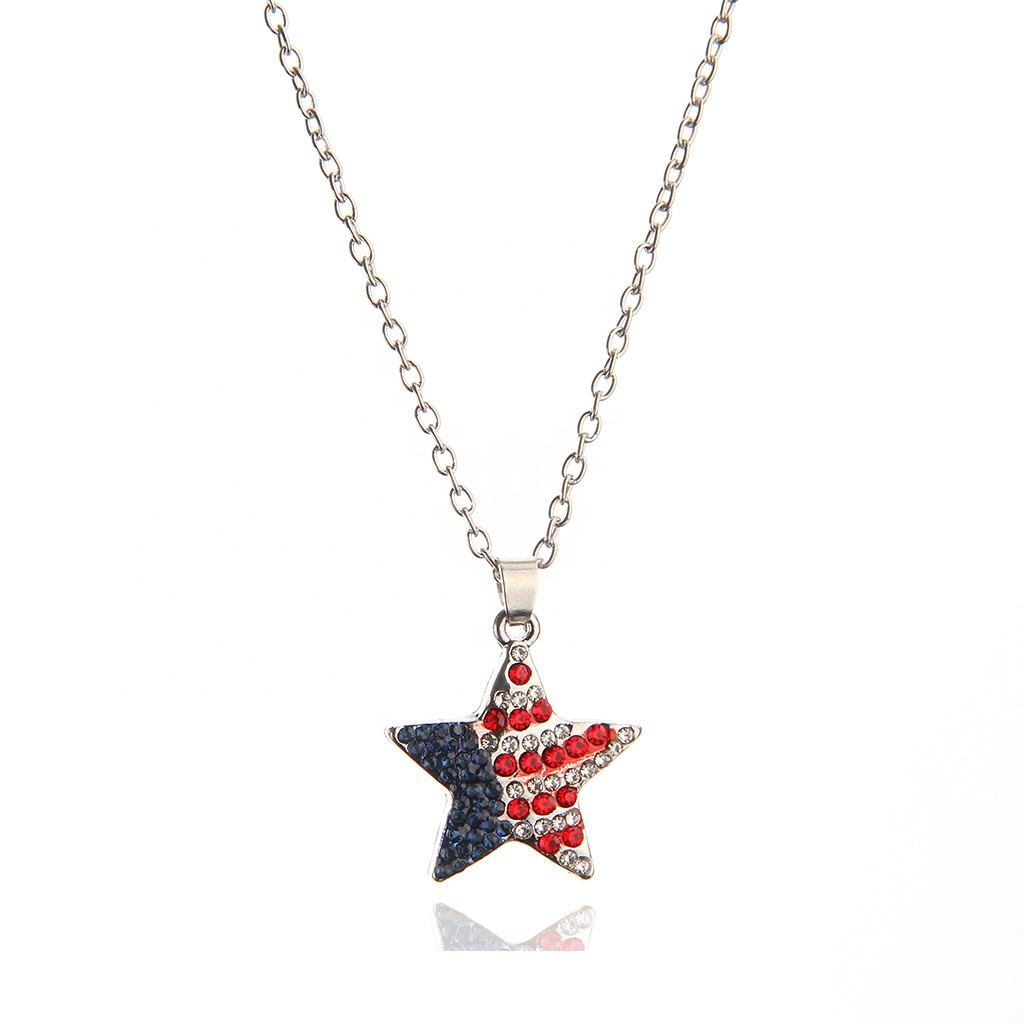 Custom Nieuwe Collectie Amerikaanse <span class=keywords><strong>Vlag</strong></span> Ster Vorm Strass Ketting