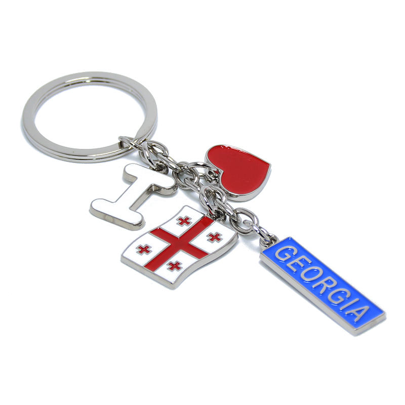 I LOVE Georgia Travel Souvenir Flags Key Chain Ring Holder Custom Promotional Gifts Keyring Charms Metal Georgia Keychain