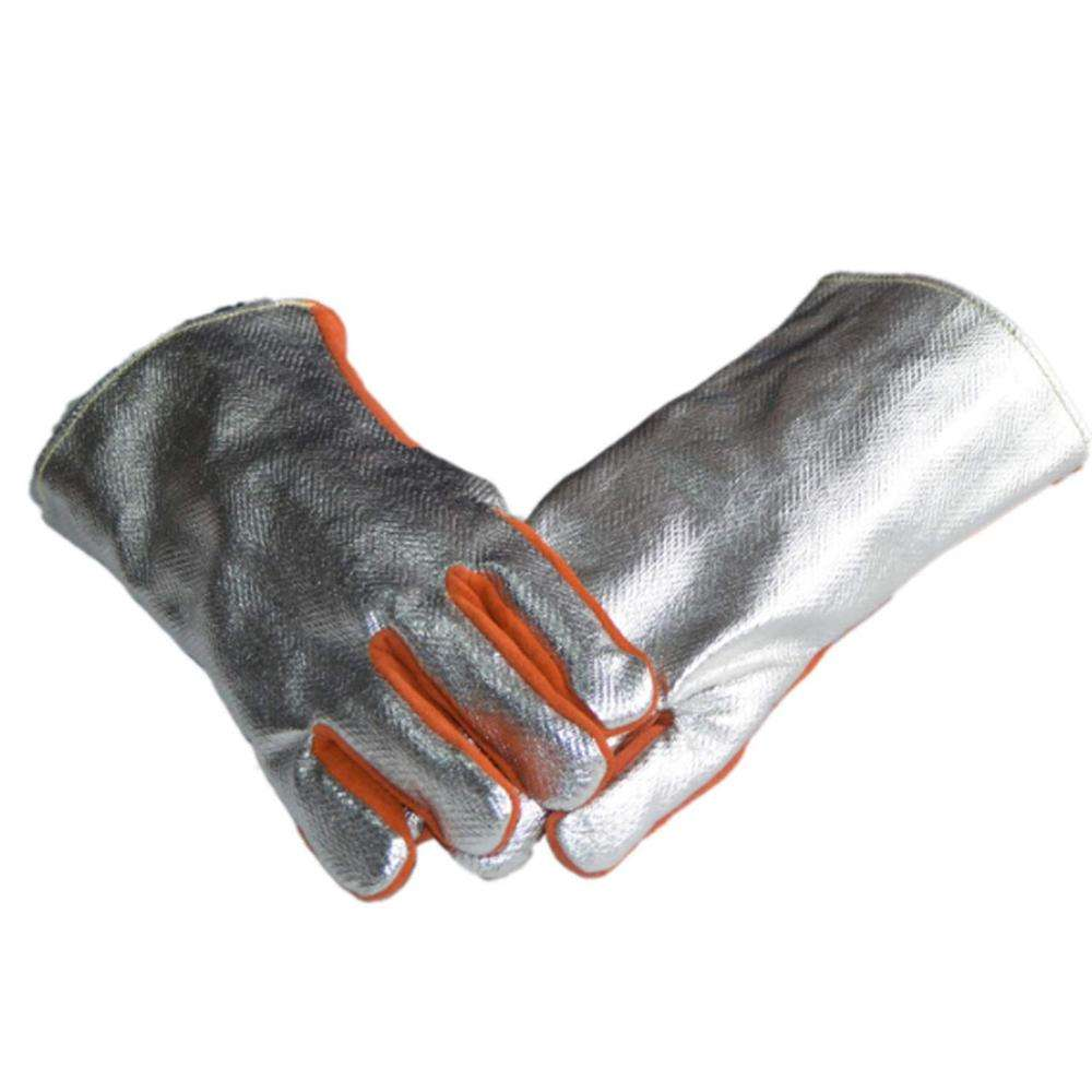Heat Resistant Gloves Mig Aluminium Foil Glove Heat protection Cow Leather Safety Gloves