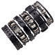 Male Alloy Rock Bulk Stock Multilayer Star Charm Wrap Vintage Bangle Adjustable Size Bracelet Punk Skull Leather Bracelets Set