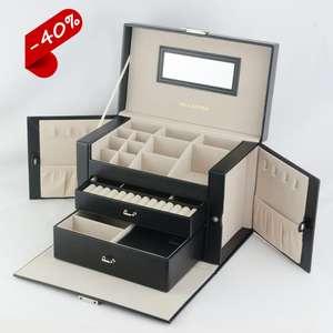 Promotion leather custom jewelri box travel jewelry organizer case large jewelry box wholesale