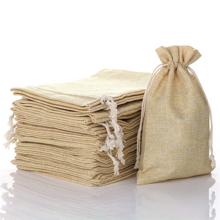 Wholesale custom linen pouch small natural gift shopping drawstring coffee jute sack bag