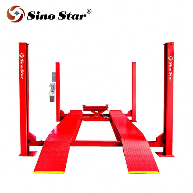 Manual one side release 4 post lift with rear sliding plate for doing wheel alignment for CE certification Shanghai Fanyi