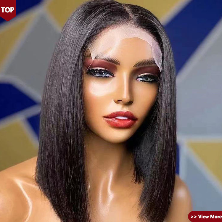 Ship Within 2 Hours Natural 100% virgin unprocessed Human Hair Custom Short 13x6 Lace Frontal Bob Wig Straight for Black Women