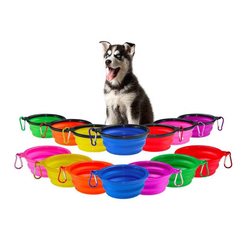 Premium food water feeding collapsible dog bowl, portable bowls with a free hook